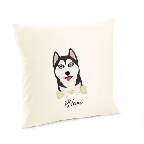 Housse-de-coussin-chien personnalisé-husky-noir-et-blanc
