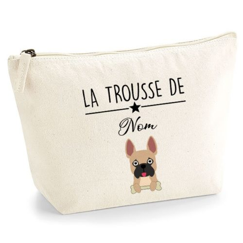 trousse-chien-personnalisé-bouledogue-francais-marron