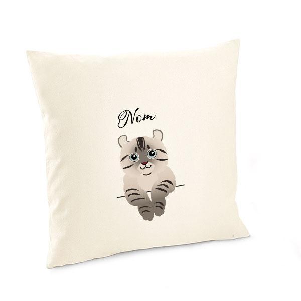 Housse de coussin chat lynx