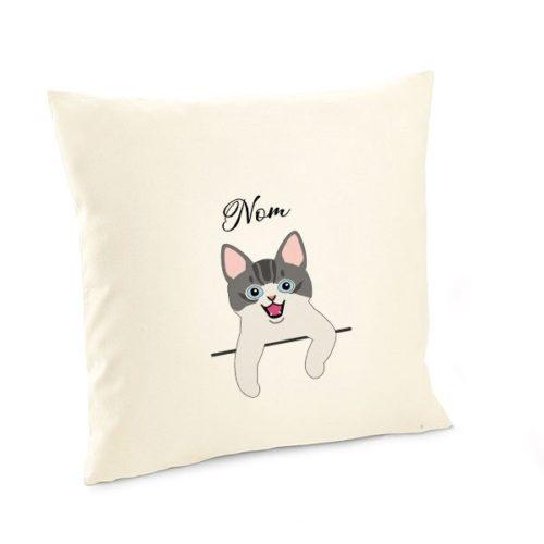 Housse-de-coussin-chat personnalisé-européen-bicolore-gris-et-blanc