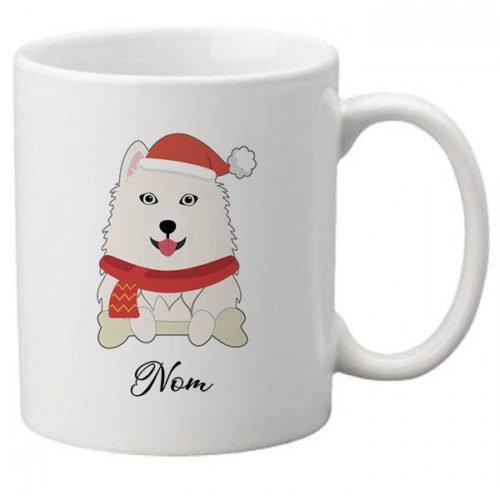 mug-chien-noel-personnalisé-samoyede